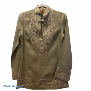 Tory Burch Tan Embroidered Linen Tunic Size 2
